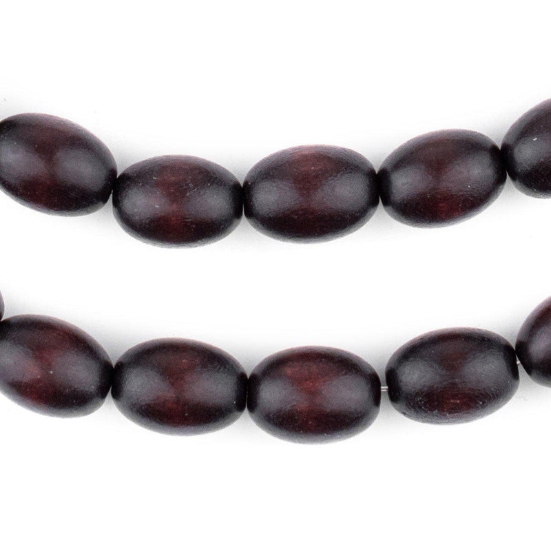 Dark Brown Oval Natural Wood Beads (15x10mm) - The Bead Chest