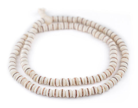 Copper-Inlaid White Bone Mala Beads (8mm) - The Bead Chest