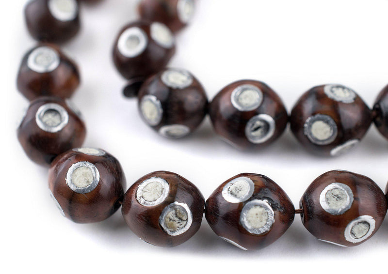 White Eye Inlaid Oval Arabian Prayer Beads (13x11mm) - The Bead Chest