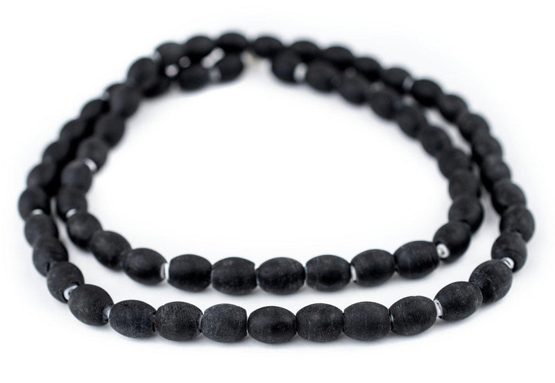 Matte Black Oval White Heart Beads (10x8mm)