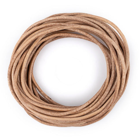 2.0mm Natural Round Leather Cord (15ft)