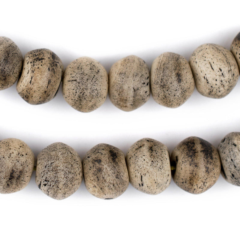Round Grey Himalayan Bone Beads (14mm) - The Bead Chest
