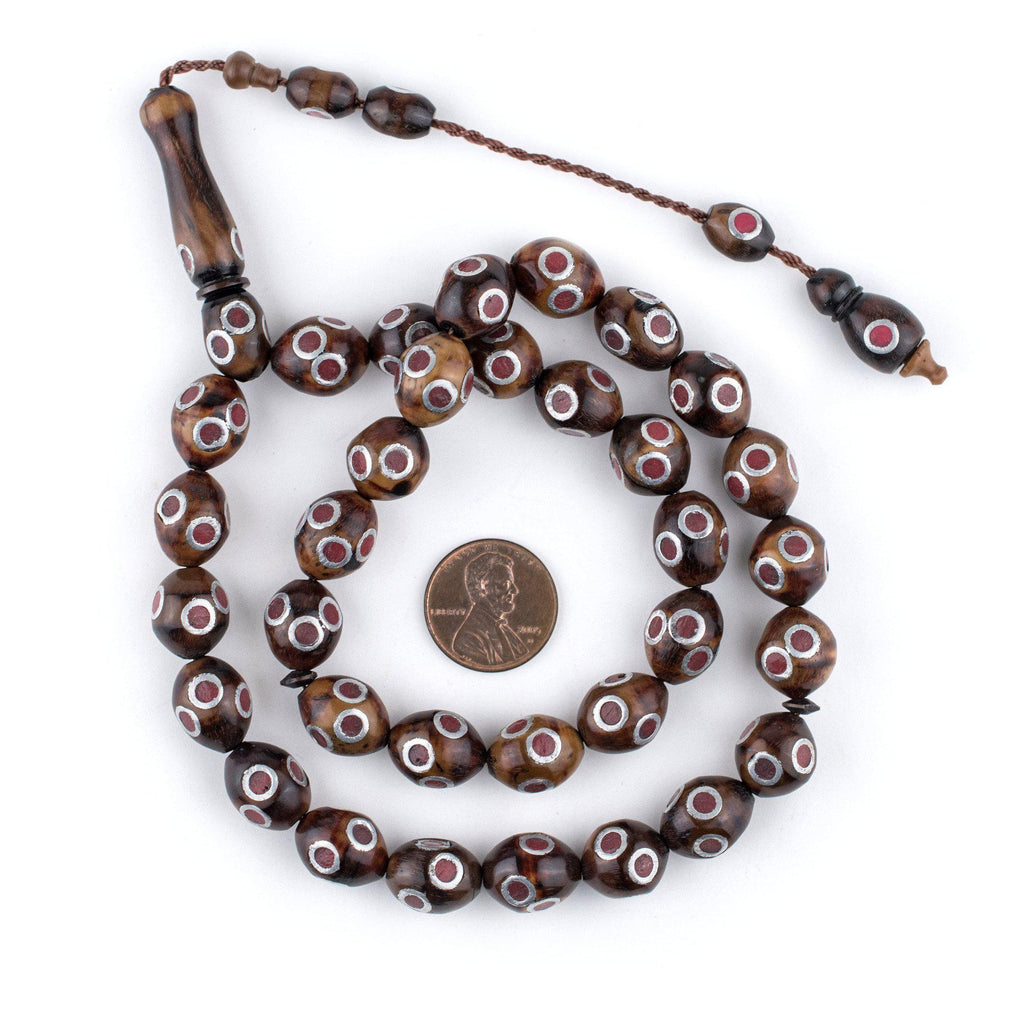 Red Eye Inlaid Oval Arabian Prayer Beads (13x11mm) - The Bead Chest