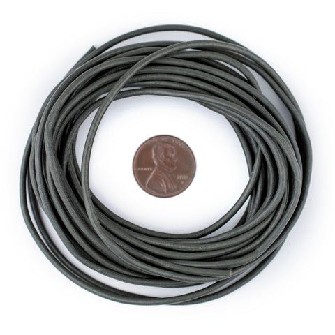 2.0mm Grey Round Leather Cord (15ft)