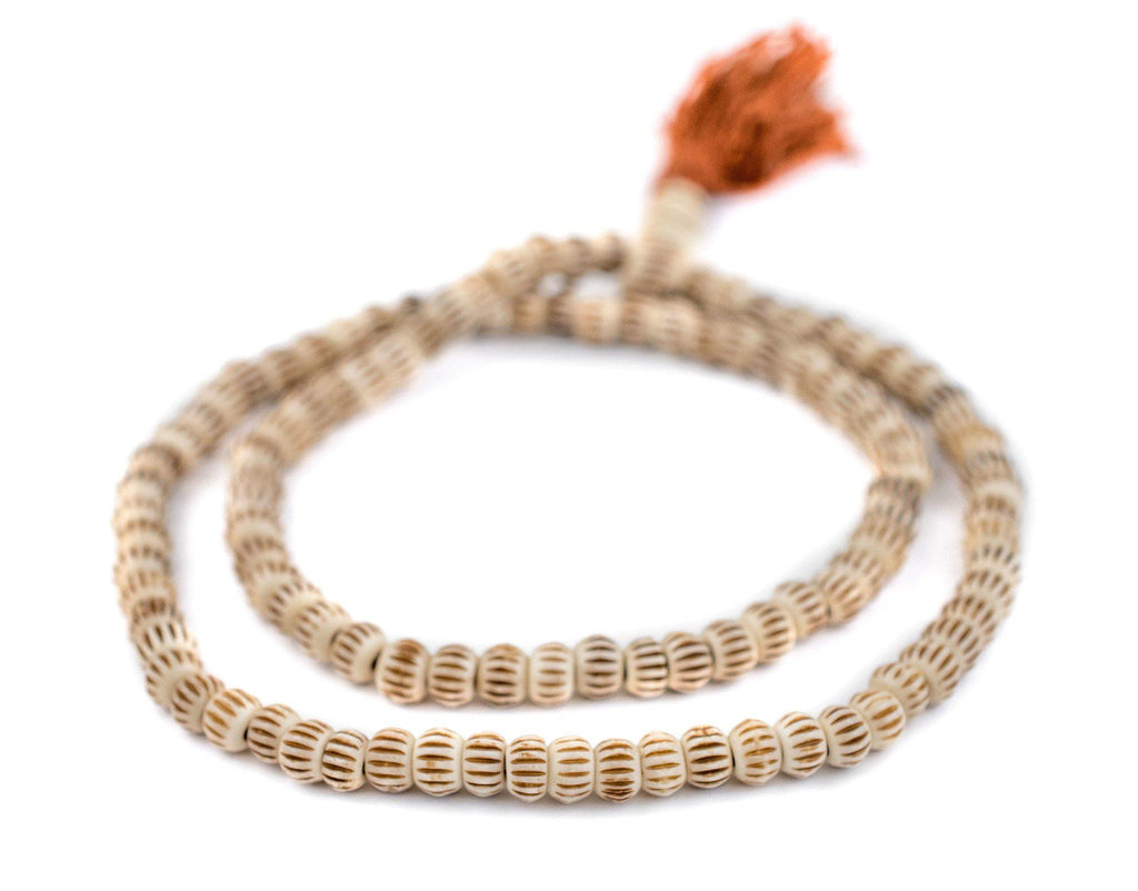 Beige Carved Chevron Bone Mala Beads (6mm) - The Bead Chest