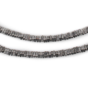 Faceted Antique Silver Triangle Heishi Beads (4mm) - The Bead Chest
