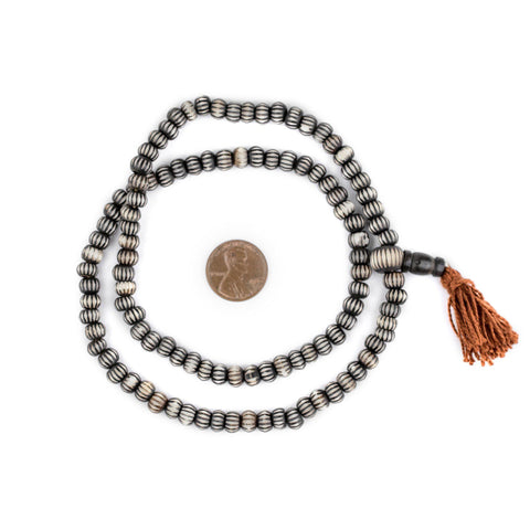 Image of Black Carved Chevron Bone Mala Beads (6mm) - The Bead Chest