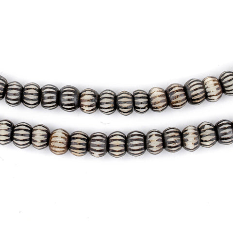 Black Carved Chevron Bone Mala Beads (6mm) - The Bead Chest