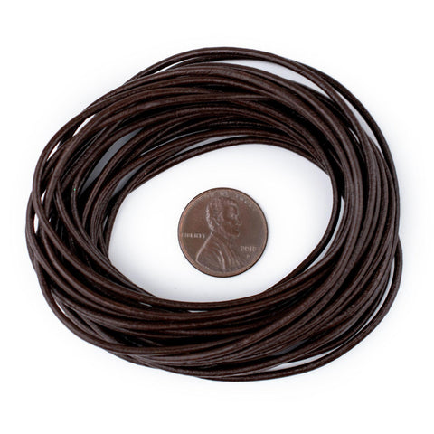 1.5mm Dark Brown Round Leather Cord (15ft)
