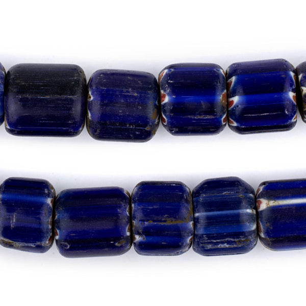 Large Blue Nepal Chevron Beads (16x14mm)