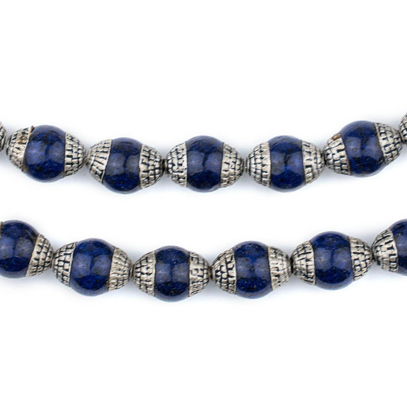 Lapis Nepali Silver Capped Beads - The Bead Chest