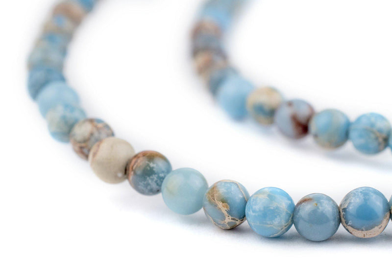 Carolina Blue Sea Sediment Jasper Beads (4mm) - The Bead Chest