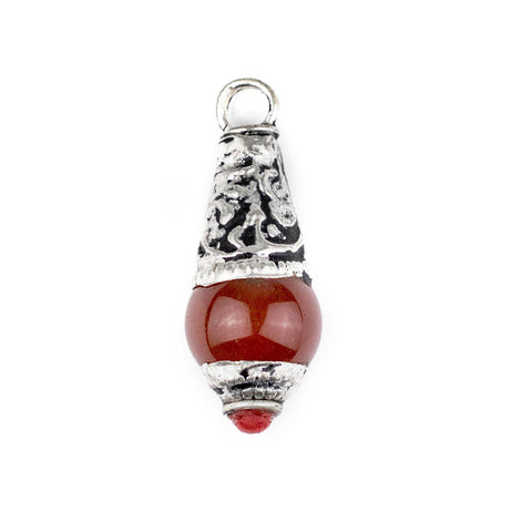 Carnelian Silver Capped Locket Pendant (28x10mm) - The Bead Chest