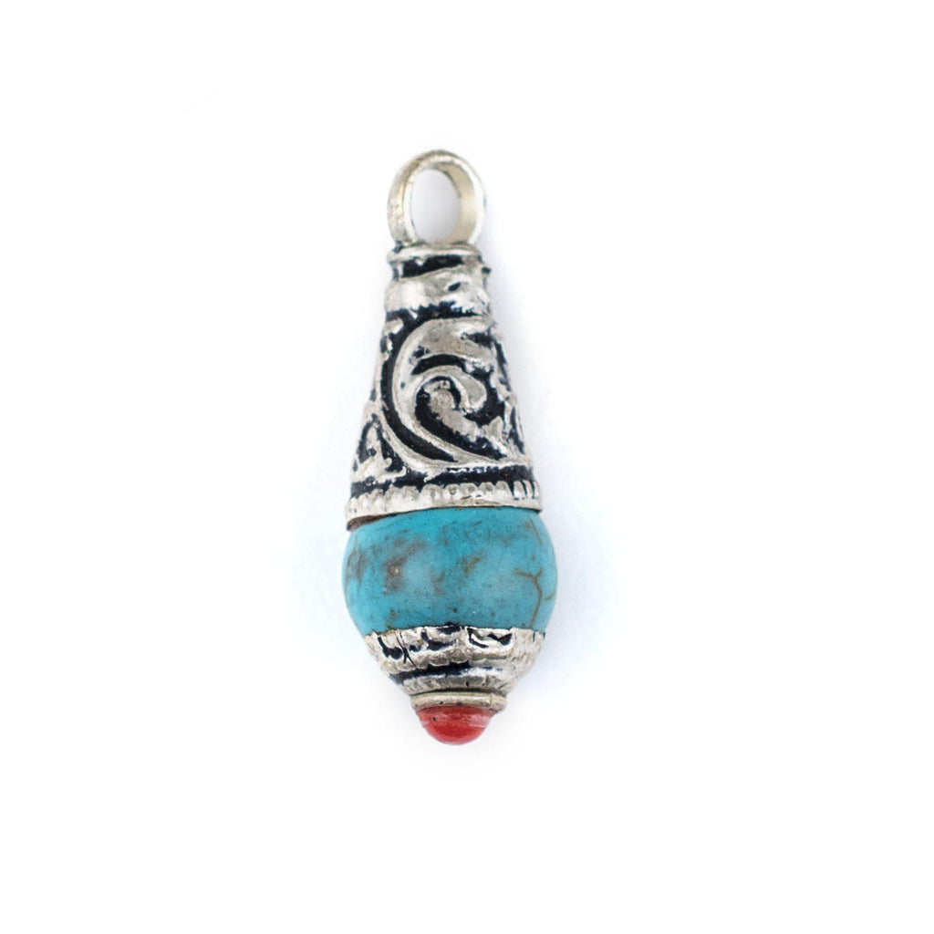 Turquoise Silver Capped Locket Pendant (28x10mm) - The Bead Chest