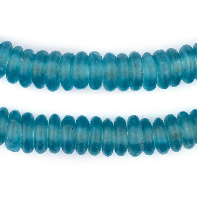 Dark Aqua Rondelle Recycled Glass Beads (Smooth) - The Bead Chest