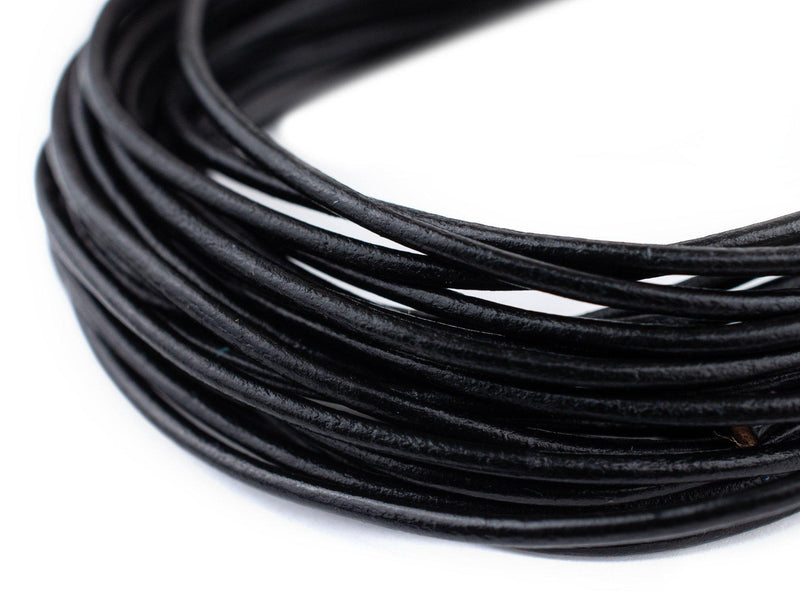 2.0mm Black Round Leather Cord (15ft)