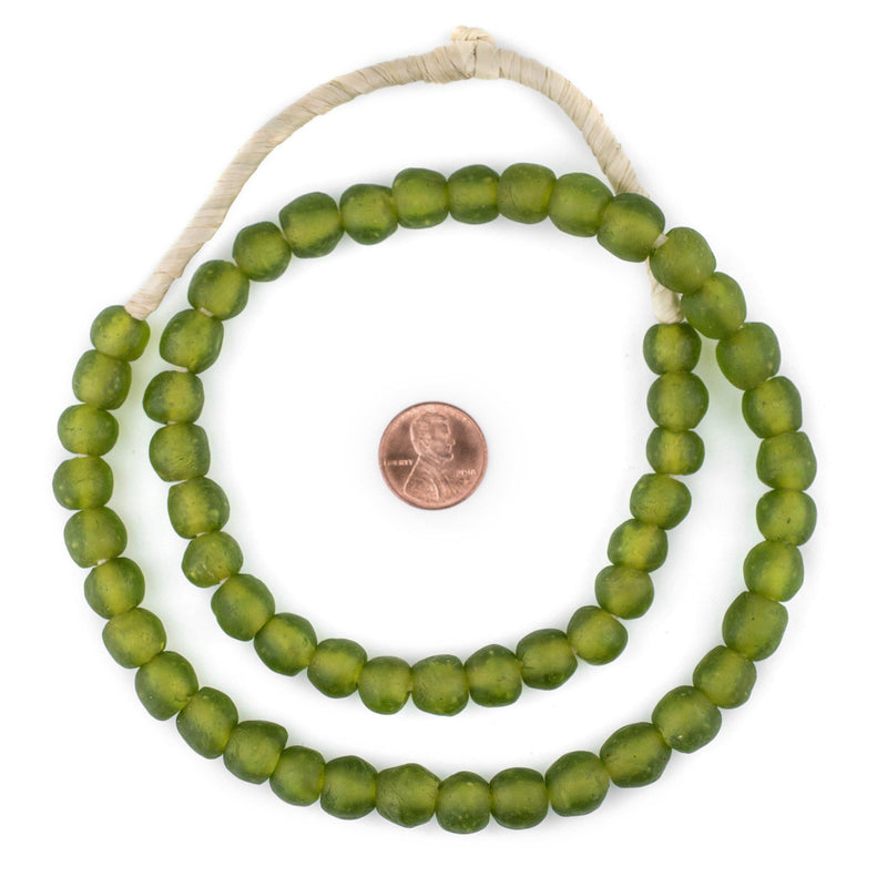 Lime Green Recycled Glass Beads (11mm) - The Bead Chest