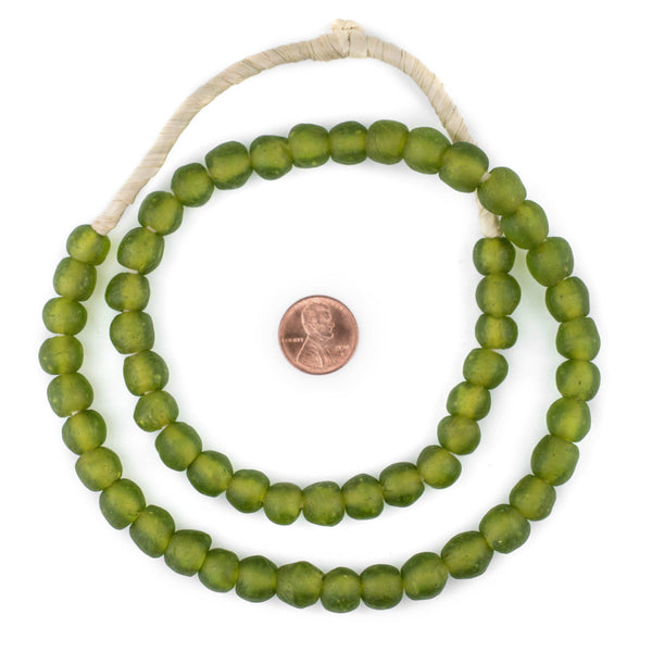 Lime Green Recycled Glass Beads (11mm)