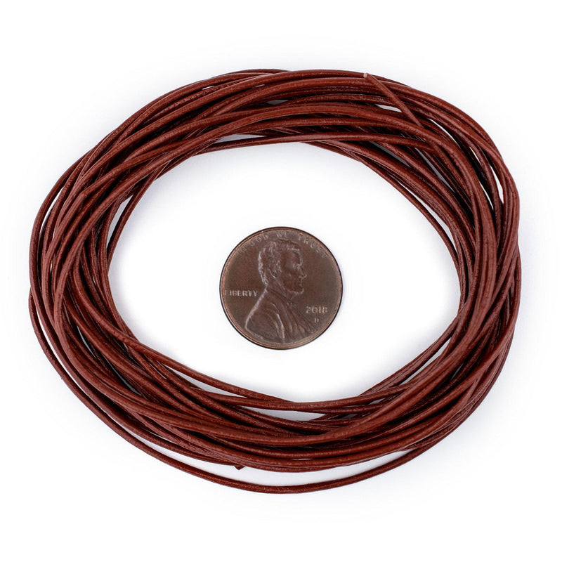 1.0mm Brown Round Leather Cord (15ft)