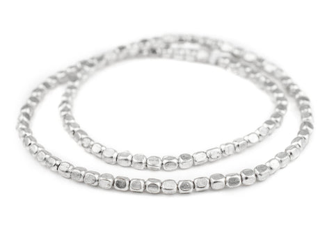 Silver Rounded Rectangle Beads (6x5mm) - The Bead Chest
