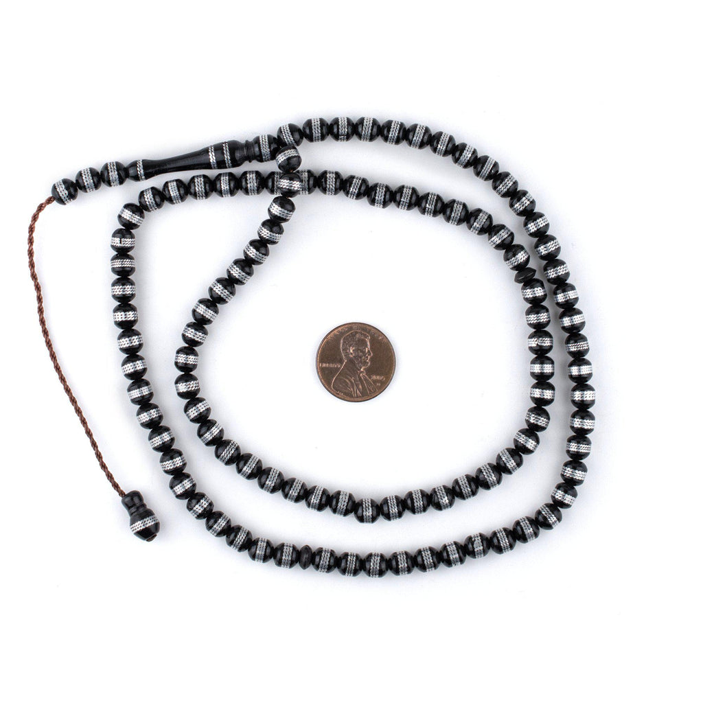 Silver Stripe Inlaid Round Arabian Prayer Beads (6mm) - The Bead Chest