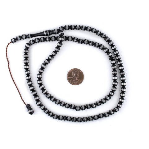 Image of Silver Stripe Inlaid Round Arabian Prayer Beads (6mm) - The Bead Chest