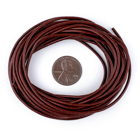 1.5mm Brown Round Leather Cord (15ft)