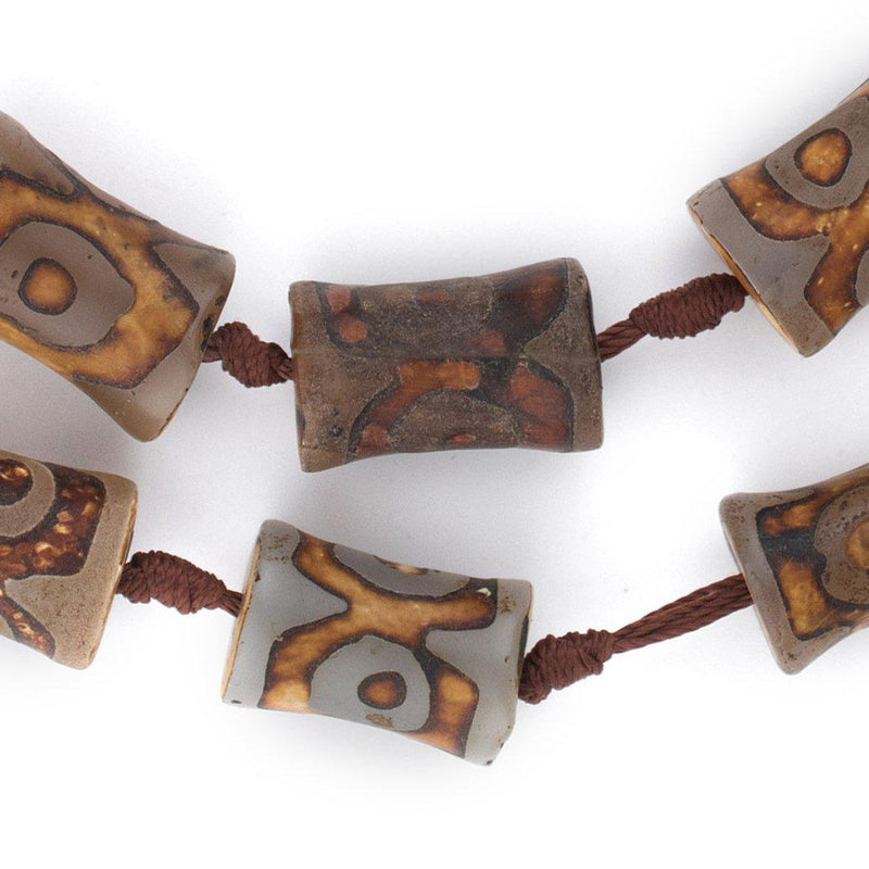 Drum-Shaped Tibetan Agate Beads (18x15mm) - The Bead Chest