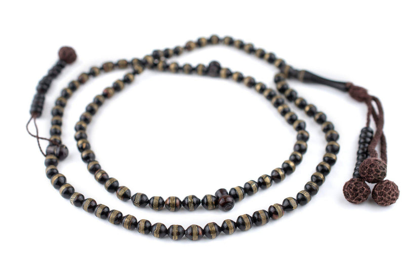 Brass Stripe Inlaid Round Arabian Prayer Beads (6mm) - The Bead Chest