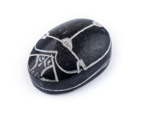 Black Basalt Scarab Cabochon (24x18mm) - The Bead Chest