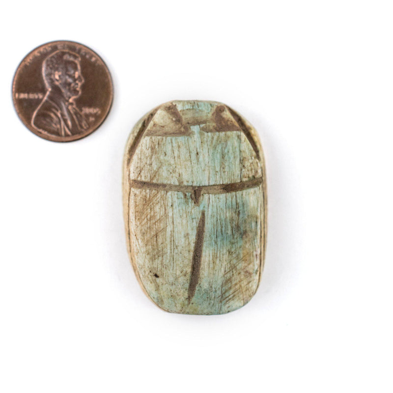 Light Green Egyptian Scarab Pendant (38x25mm) - The Bead Chest