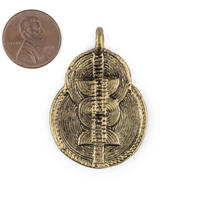 Brass Double Sun & Moon Baule Pendant (32x46mm) - The Bead Chest