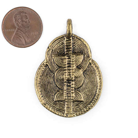 Image of Brass Double Sun & Moon Baule Pendant (32x46mm) - The Bead Chest
