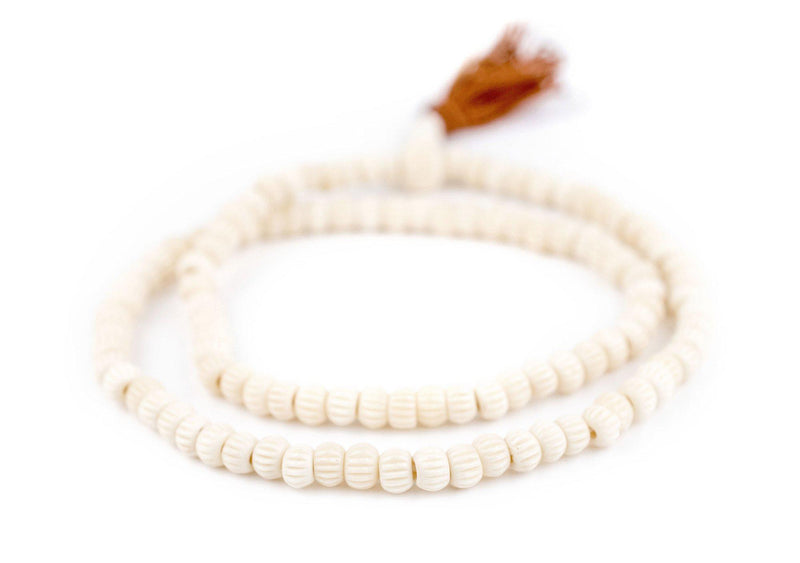 White Carved Chevron Bone Mala Beads (6mm) - The Bead Chest