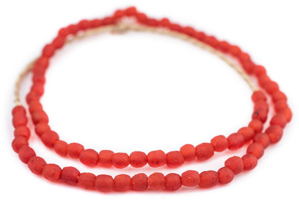 Bright Red Recycled Glass Beads (7mm) - The Bead Chest