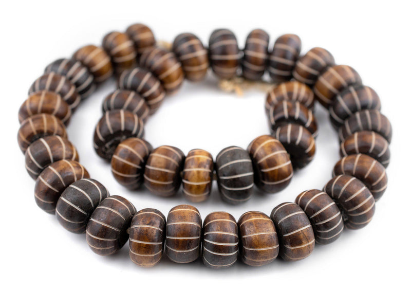 Carved Watermelon Brown Bone Beads (Large) - The Bead Chest