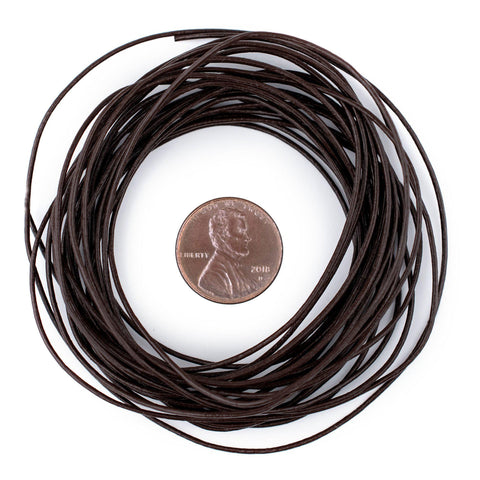 0.8mm Dark Brown Round Leather Cord (15ft)