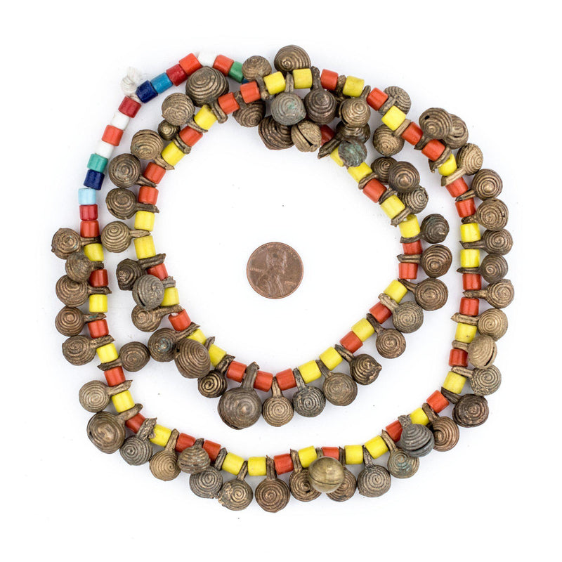 Old Yoruba Brass Bell Necklace - The Bead Chest