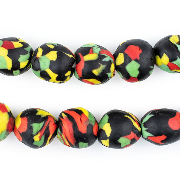 Rasta Fused Recycled Glass Beads (14mm)