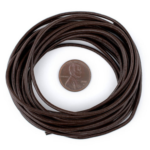 2.0mm Dark Brown Round Leather Cord (15ft)