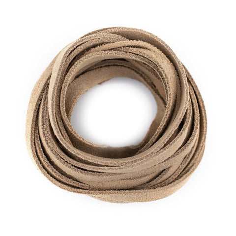 6.0mm Beige Flat Suede Leather Cord (15ft)