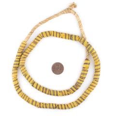Antique Yellow Spiral Venetian Trade Beads (8mm)