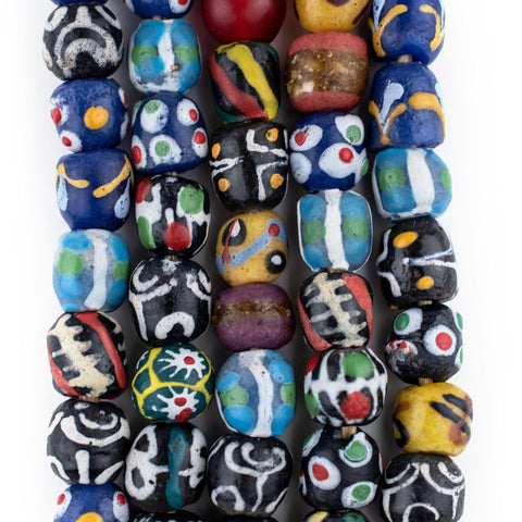 Turquoise Venetian-Style Mixed Krobo Beads - The Bead Chest
