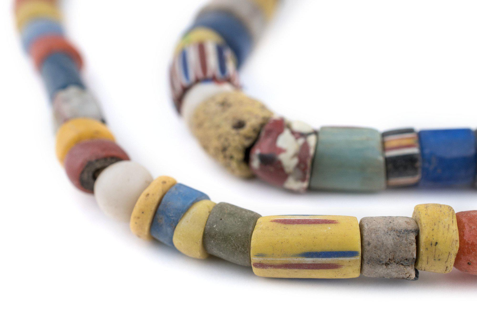 Mixed Ghana Chevron Beads 5mm African Multicolor Glass 24-25 Inch Strand