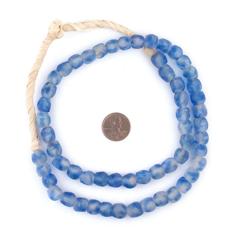 Blue Swirl Recycled Glass Beads (9mm) - The Bead Chest