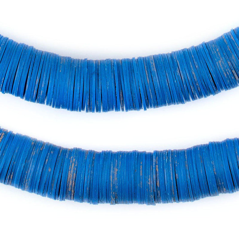Blue Vinyl Phono Record Beads (14mm) - The Bead Chest