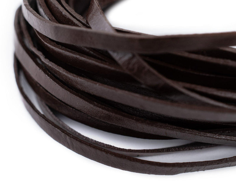 3.0mm Dark Brown Flat Leather Cord (15ft)
