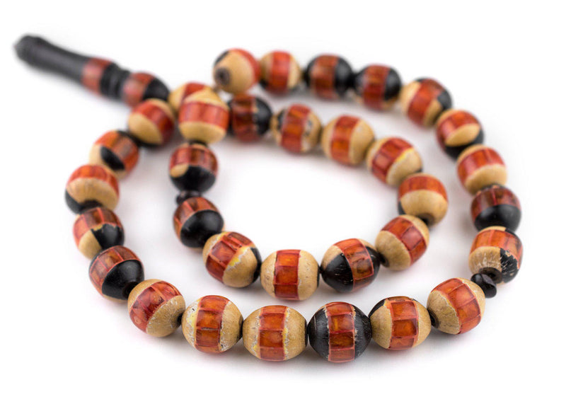 Orange-Inlaid Ebony Arabian Prayer Beads (14x12mm) - The Bead Chest