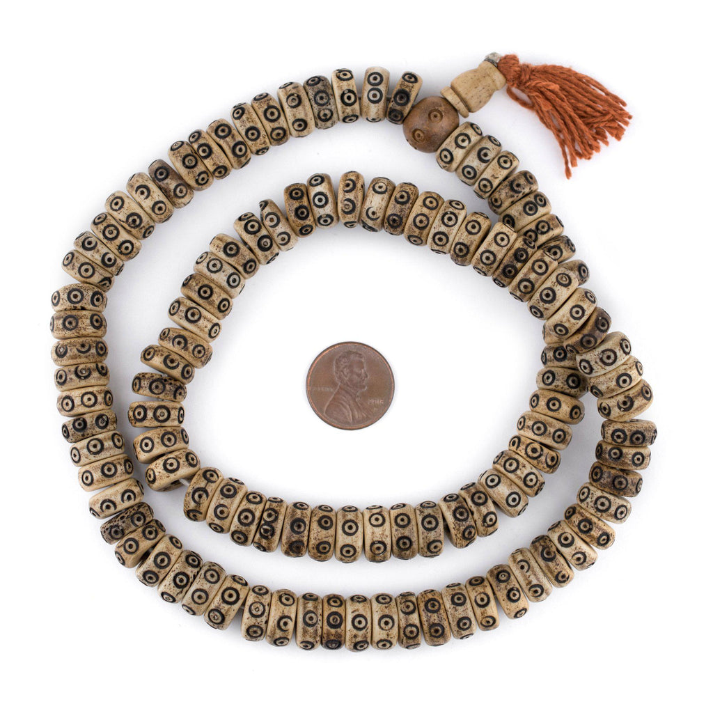 Brown Carved Eye Disk Bone Mala Beads (12mm) - The Bead Chest