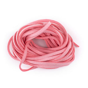 3mm Flat Pink Faux Suede Cord (15ft)
